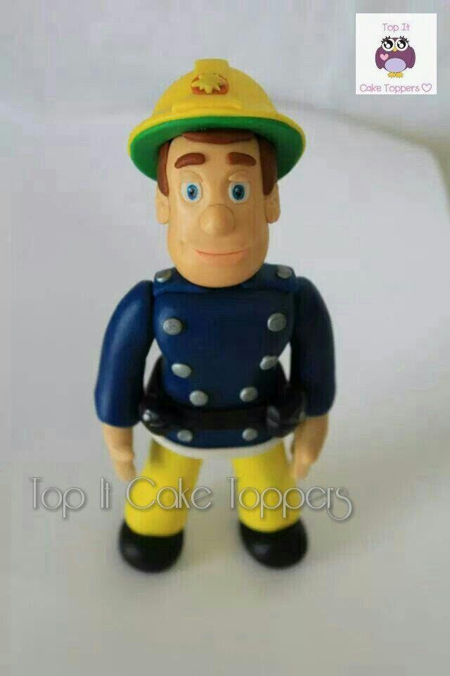 Fireman Sam cake topper. Made with homemade marshmallow fondant