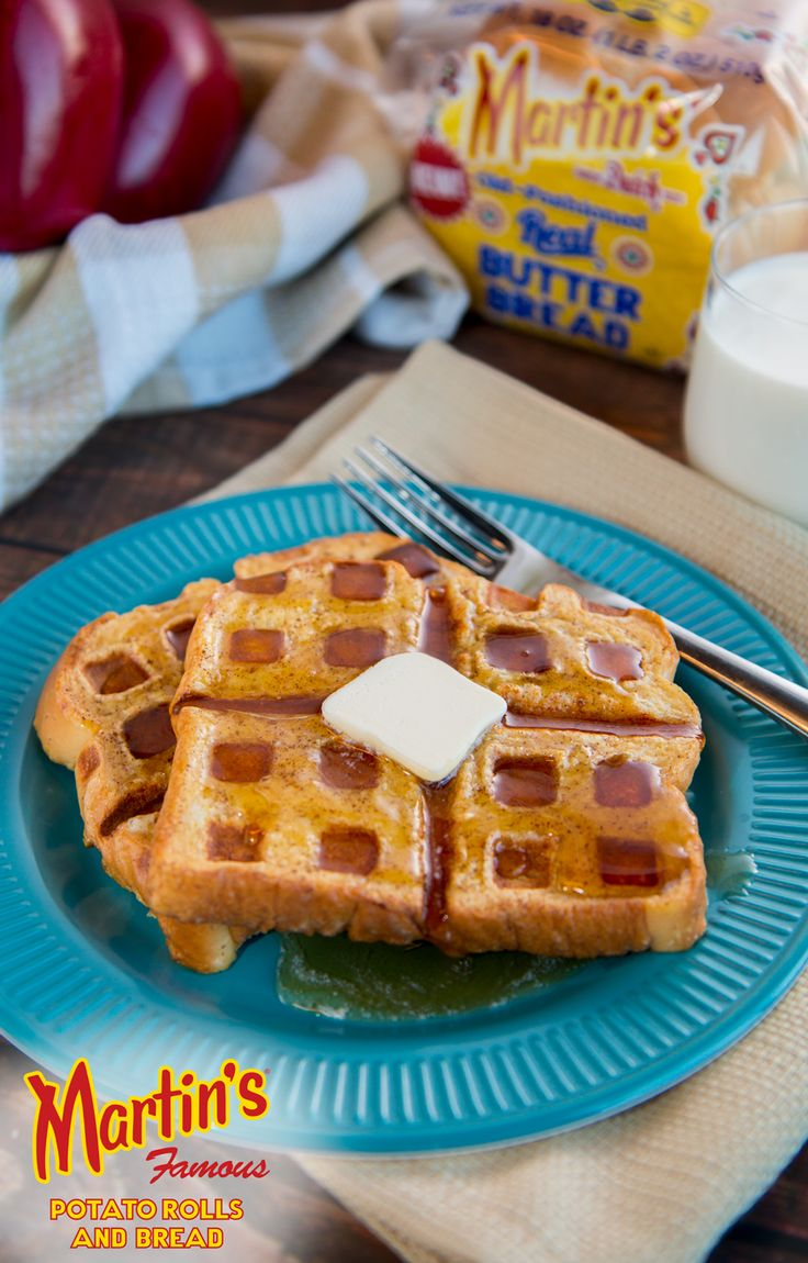 Make your standard French toast into a masterpiece by grilling it in a waffle maker to get that great checkerboard design! Try this recipe using Martin's new Old-Fashioned Real Butter Bread, or use our Cinnamon Raisin Swirl Potato Bread for a tasty alternative.