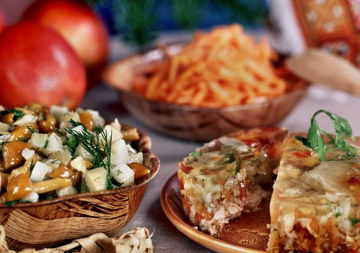 Russian food, kholodets and mushrooms.