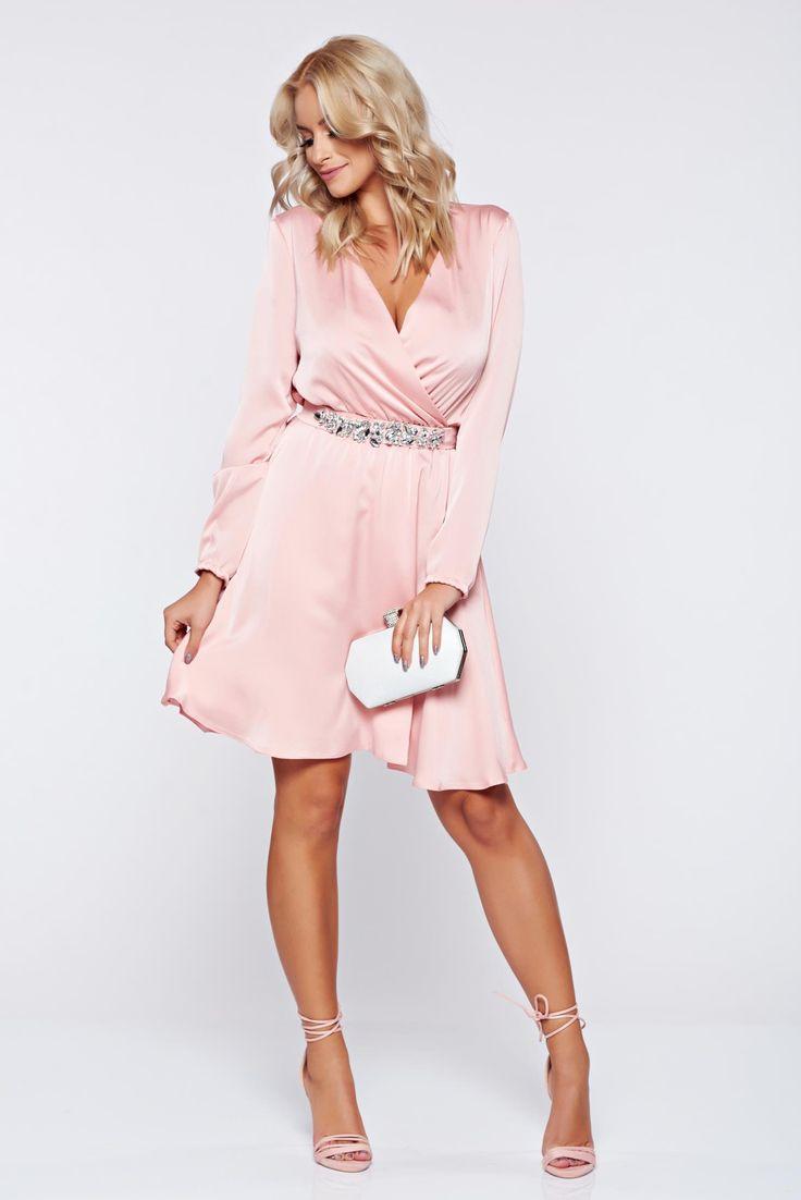 Comanda online, Rochie StarShinerS roz de ocazie cu maneca lunga cu pietre strass. Articole masurate, calitate garantata!