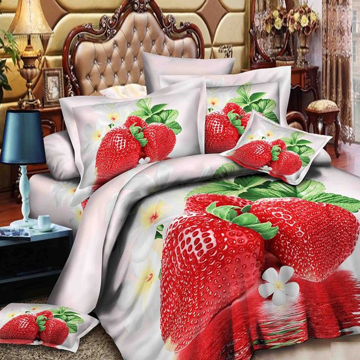3D масло клубники постельного белья, 4 шт. постельных принадлежностей без наполнителя, 3D картины маслом красная клубника принцесса пододеяльник(China (Mainland))