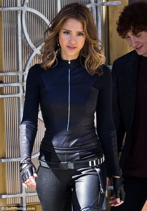 Jessica Alba shows off her curves in a leather catsuit as she films Spy Kids 4
