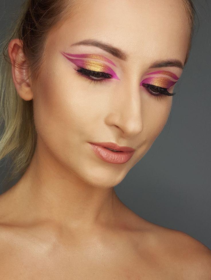 artistic , modern look  gold, magenta colours modern cut crease makeup