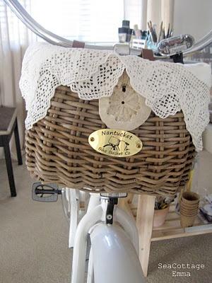 Nantucket bike basket on the bike. Pretty cute!