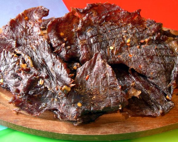 THE BEST beef jerky recipe. I have made a ton of recipes out of all kinds of things. Roasts, steaks, etc. But the only stuff I get asked for is this stuff. It is so cheap and so versatile.