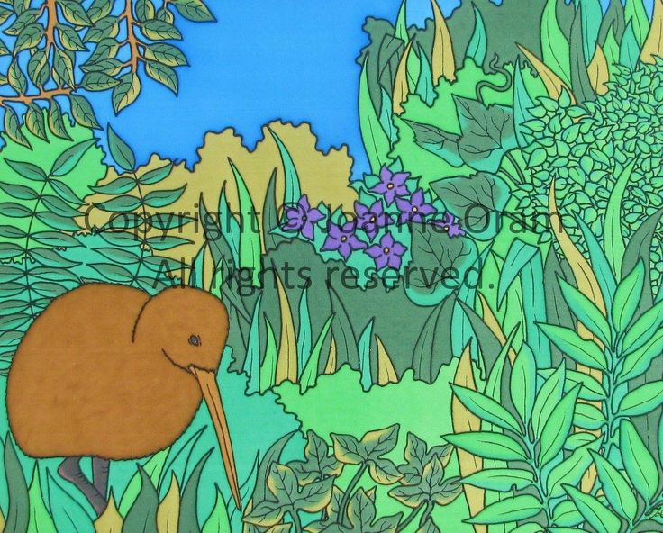 Unique silk painting of a brown kiwi from New Zealand wandering through lush native plants. Available to buy on prints, canvas, cards, cushions and more at www.naturespalette.co.nz
