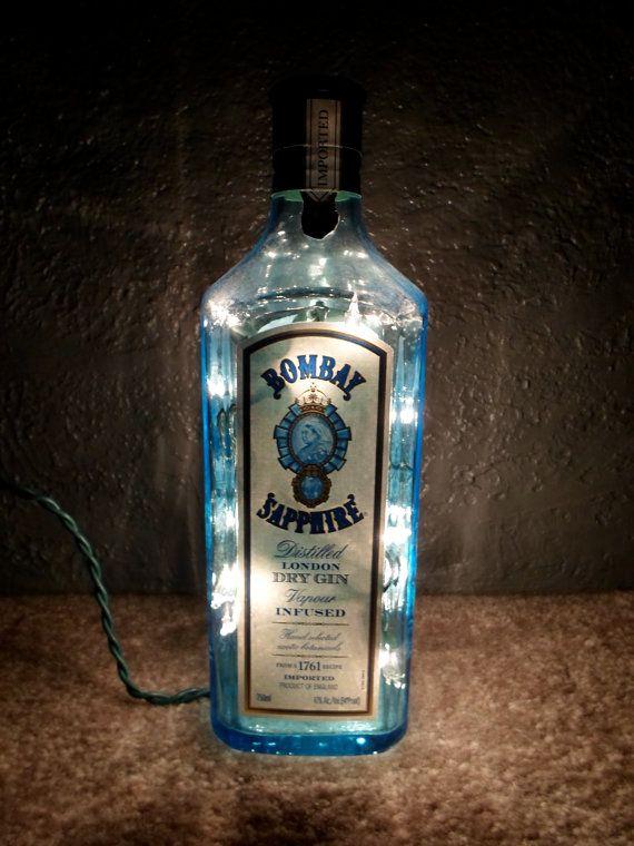 Lighted Bombay Sapphire Bottle London Dry Gin Alcohol Lamp. $22.50, by SchulersGlassDecor via Etsy.