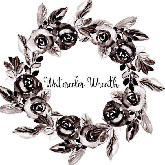 Watercolor Flower Clip Art Black Rose Clip Art Black Wreath Png