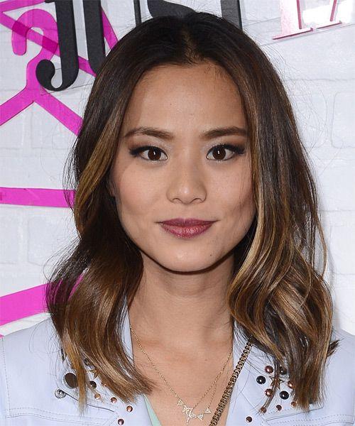 Jamie Chung Medium Wavy    Brunette   Hairstyle | Medium hair styles, Jamie chung hair, Wavy hairstyles medium