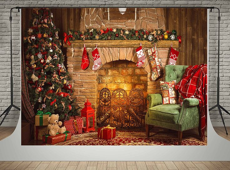 Indoor Fireplace Christmas Tree Photography Background: 127 Best Christmas Backdrop Images On Pinterest