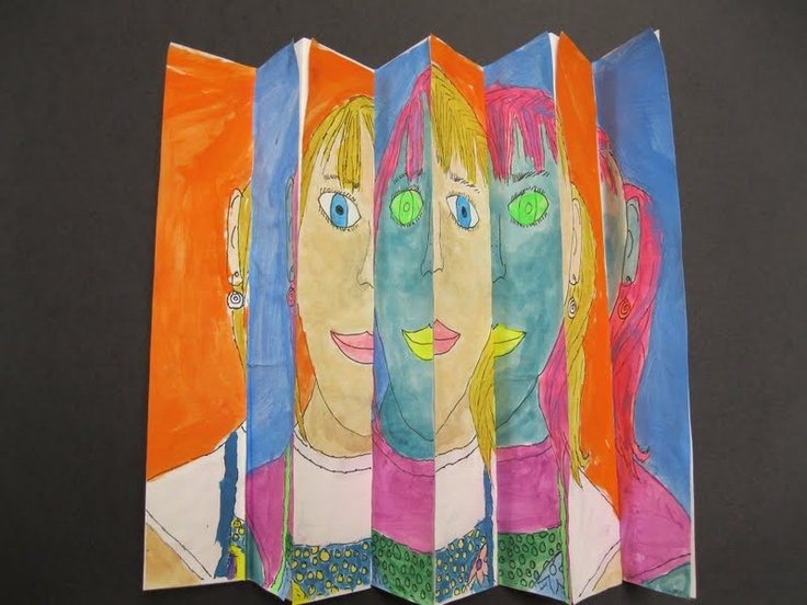 The Art Room at The Falcon Academy of Creative Arts: Fourth Grade Zig Zag Paintings Are Complete!  Students drew and painted a realistic version of themselves and then used wild colors to paint and unrealistic version.  Fold and unfold it to see the effect!