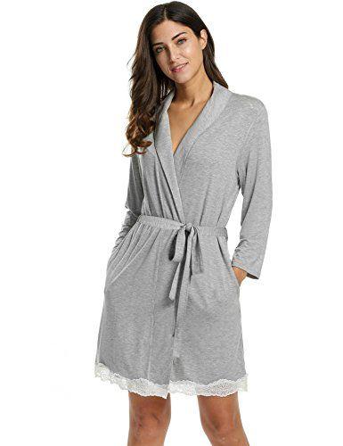 8ef1b94769 L'AMORE Damen Kimono Morgenmantel Baumwolle Bademantel Nachtwäsche  Schlafanzug mit feiner Spitzenkante Schwarz Grau.… | Clothing & Accessories  Products in ...