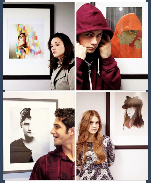 Teen Wolf cast looking at fan art of themselves