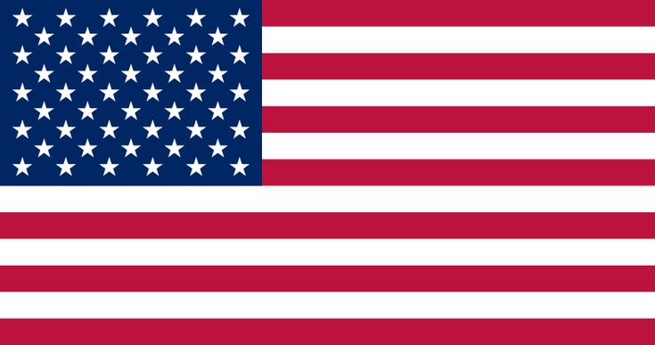 The flag of the United States features thirteen equal horizontal stripes of red (top and bottom) alternating with white; there is a blue rectangle in the upper hoist-side corner bearing 50 small, white, five-pointed stars arranged in nine offset horizontal rows of six stars (top and bottom) alternating with rows of five stars; the 50 stars represent the 50 states, the 13 stripes represent the 13 original colonies.