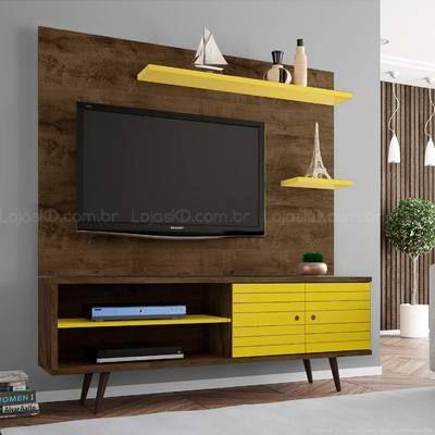 Rack 2 Portas com Painel para TV até 55 Polegadas Onix Madeira Rústica/Amarelo - Móveis Bechara
