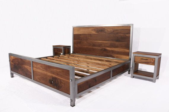 This bedroom set is a perfect combination of solid walnut and steel.  We fabricate our frames by hand entirely from steel tubing. So the final