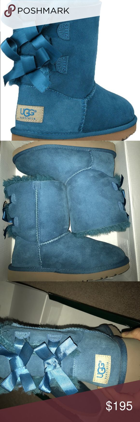 Blue Ugg Australia bailey bows Blue suede, fur still soft, bottom design crisp, bows securely on, no pull strings or stains, only worn twice indoors. UGG Shoes Ankle Boots & Booties