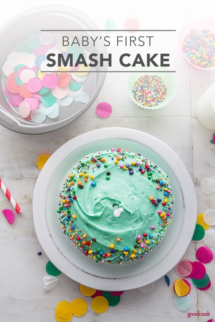 Baby's First Smash Cake is a fun, yummy way to celebrate your baby's first birthday. A pint-sized cake that's created just for this special day, Baby's First Smash Cake will be a huge hit with your little one. Let the messiness begin! #cake #dessert #smashcake #minicake