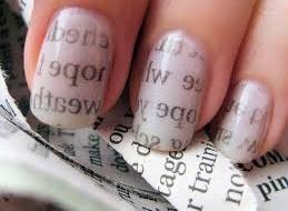 Newspaper Nail Art: Nailart, Nails Design, Nailpolish, Newspaper Nails Art, Rubbed Alcohol, Nails Polish, Newsprint Nails, Coats, Prints Nails