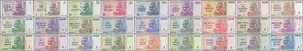 Superb Zimbabwe Full Set $1-100 Trillion Series Dollars, 2007-2008, P-65-91, UNC,27 PCS https://www.paper-money-collector.com/product/zimbabwe-full-set-1-100-trillion-series-dollars-2007-2008-p-65-91-unc27-pcs/ #Numismatics #Zimbabwe