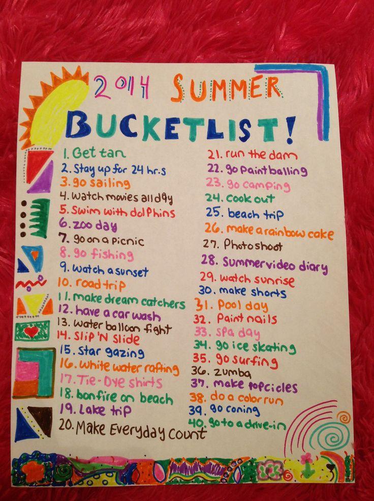2014 Summer Bucket List! #bucketlist