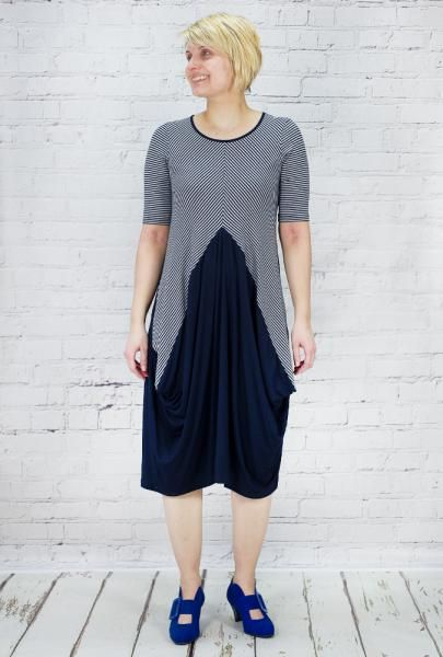 Navy and pale grey diagonal striped dress with panels forming a shaped skirt. 95% viscose and 5% elastane.Washable at 30, made in Italy.