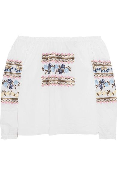 Needle & Thread - Off-the-shoulder Embroidered Cotton-poplin Blouse - White - UK14