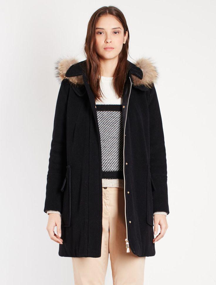 Ткань одеяла куртка, черная - Marella