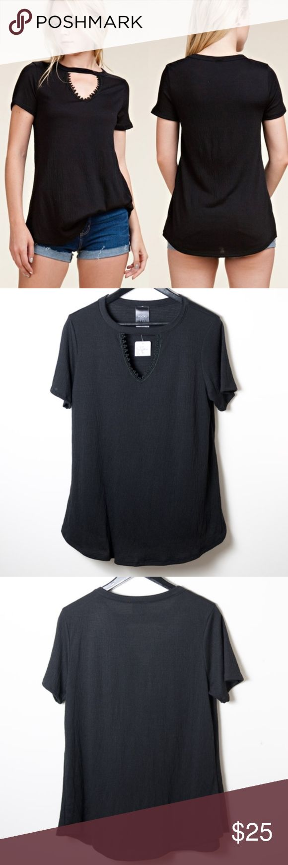NWT Vocal Black Short Sleeve Top Medium Keyhole New with tags black Vocal short sleeve top. Keyhole neck with feminine embellishments.  Size medium. Vocal Tops Blouses