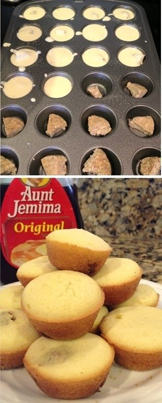 Any favorite pancake mix, pour over fully cooked sausage (or bacon or fruit), bake in mini muffin tins for bite sized pancakes! - Click image to find more Food & Drink Pinterest pins