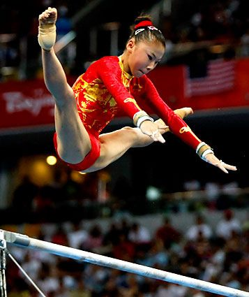 He Kexin - Gymnastics ~ Beijing 2008 - Womens Uneven Bars      by CC2008NN, via Flickr