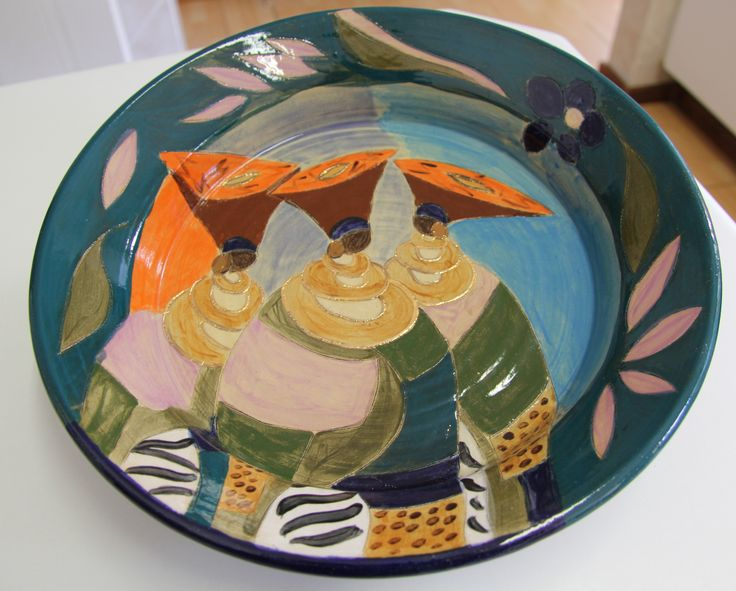 Ladies of Africa. Stone ware, wheel thrown pottery bowl by Dana. www.dmgdesigns.co.za  or facebook - DMG Designs .