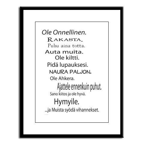 Kehystetty Taulu - Ole Onnellinen - http://sisustusullakko.com/tuote/kehystetty-taulu-ole-onnellinen