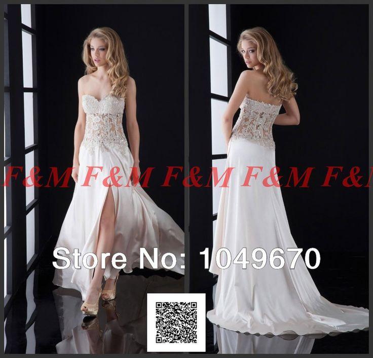 2014 Новый стиль видеть сквозь аппликациями сторона ил суд-поезд длинные платья для особых случаев платья F и M698