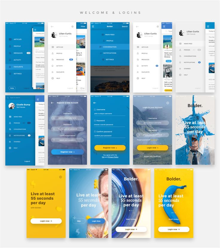 This amazing package of 65 HQ Mobile Templates will revolutionize the way you create the next mobile project. With Ready-to-use templates in 5 different categories (Welcome, Menus, Profiles, Blog and Ecommerce) you will be able to create a quick mockup, a prototype or a final design in no-time. With tons of UI component and elements, greatly assembled and with an exciting vibrant style we assure you'll create an outstanding project in a blink of an eye.