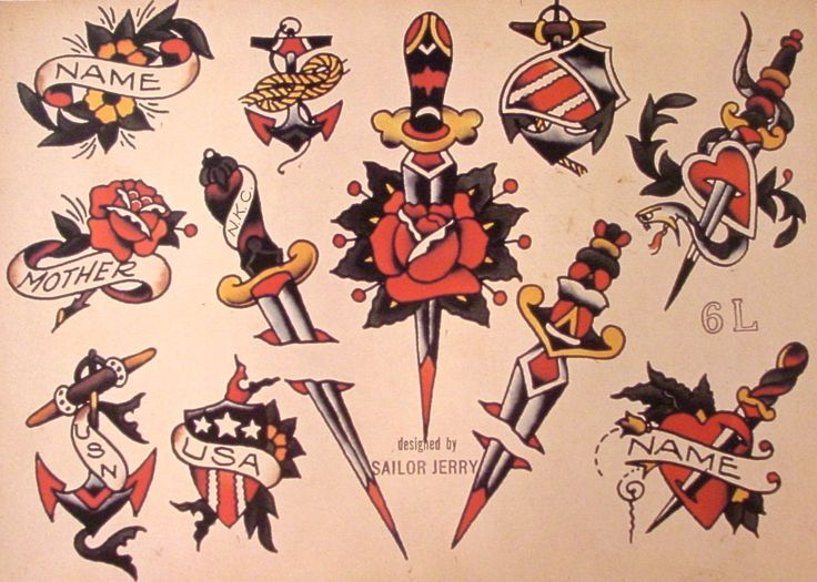 Sailor Jerry Tattoo Flash (10 Sheets): Snakes, Panthers, Geisha Girls
