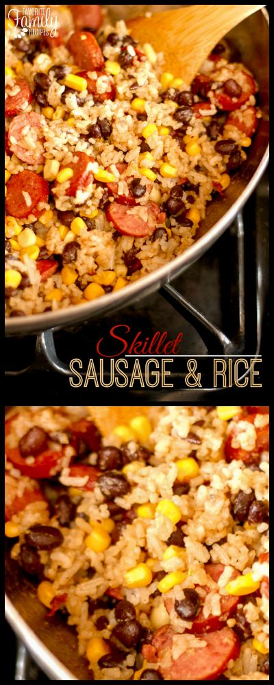 This Skillet Sausage and Rice is a fast and delicious dinner recipe for busy nights. A few ingredients cook up fast in one skillet with easy clean-up! via @favfamilyrecipz