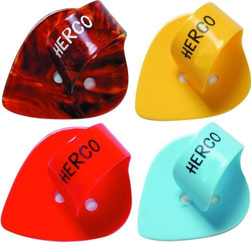 Herco HE113 Flat Thumb Pick Heavy 24/Pk by Herco. $30.52. Herco Picks - Two great designs in one guitar pick... Herco's celluloid flat Thumb Picks have been designed as a combination of the traditional flat pick with a thumbpick loop. All the advantages of both Guitar Pick styles are now in one design. These Herco Thumb Picks come in a pack of 24 of assorted colors - red, blue, yellow and shell. Product page if for a heavy gauge pick pack.