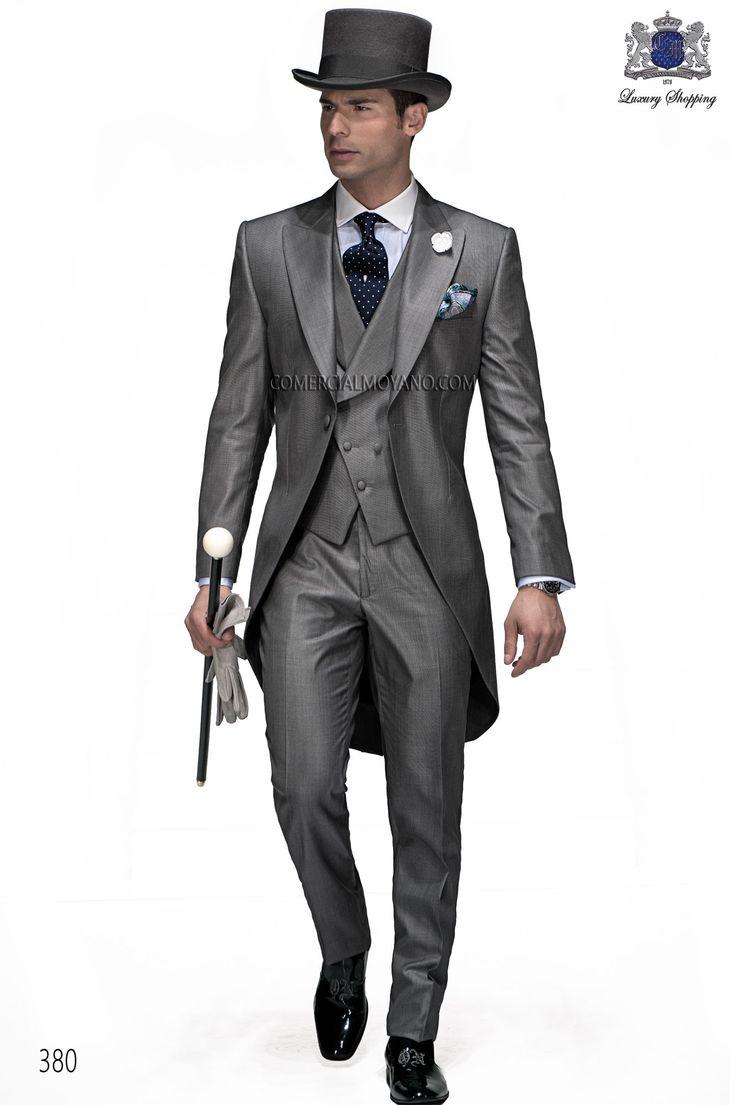 Traje de novio chaqué italiano a medida lana seda gris modelo 380 Ottavio Nuccio Gala colección Gentleman 2015.