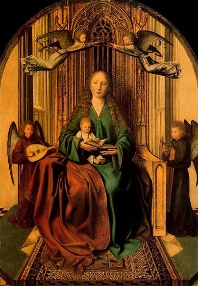 Quentin Massys, the virgin and child enthroned with four angels, 1490