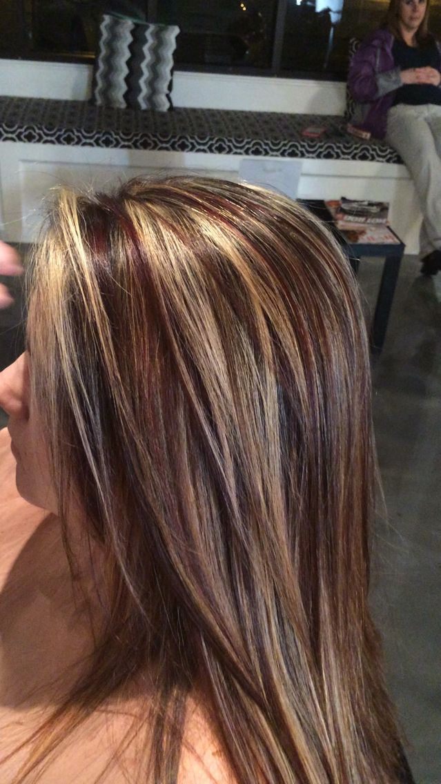 Red lowlights. Brown lights. Blonde highlights #alloxi #kreationsbykatie