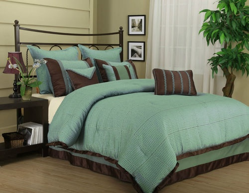Tobey 7pc comforter teal brown set bed in a bag king queen for Teal and tan bedroom