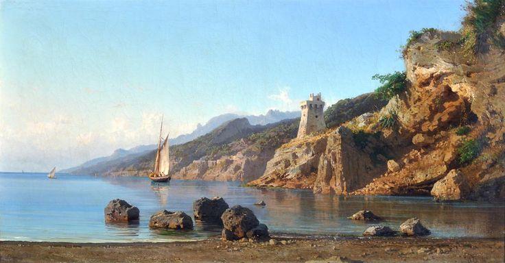 La Volpe Alessandro (Lucera - FG 1820 - Roma 1887) Marina di Salerno olio su tela, cm 70x133