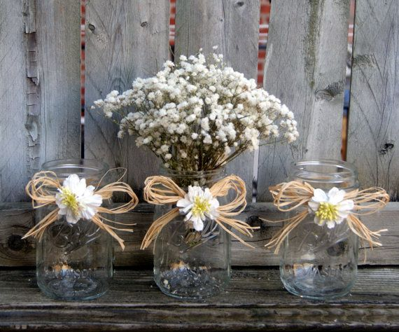 Rustic Wedding Decor / Daisy Wedding by CarolesWeddingWhimsy, This set of 3 Rustic Wedding Decoration - Mason Jar Centerpiece with Raffia and Daisy.  It is also great for Daisy Wedding Decoration.  They function as a wedding centerpiece or floating candle holders. You can find them here .https://www.etsy.com/listing/232452963/rustic-wedding-decor-daisy-wedding