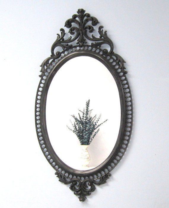 Hollywood Regency Mirror For Sale 31 X 17 Ornate Oval Black Framed Mirror Decorative Wall Mirrors White Mirrors For Sale Black Mirror Frame Mirror Wall Decor