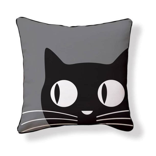 Big Eyes Cat 18x18 Black