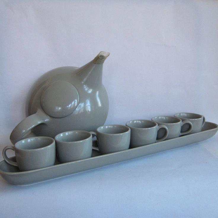 Vintage MCM Grey Glazed Ceramic Teapot and Teacup Set Oblong Tray 80s does 50s Midcentury Modern Dinnerware Claudia Shwide Toscany Japan by BasyaBerkman on Etsy
