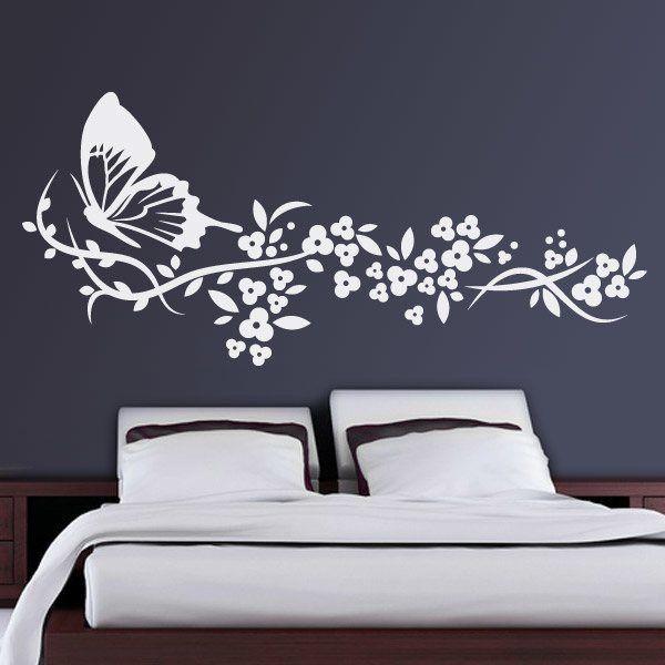 Vinilos Decorativos: Mariposa y Floral 1