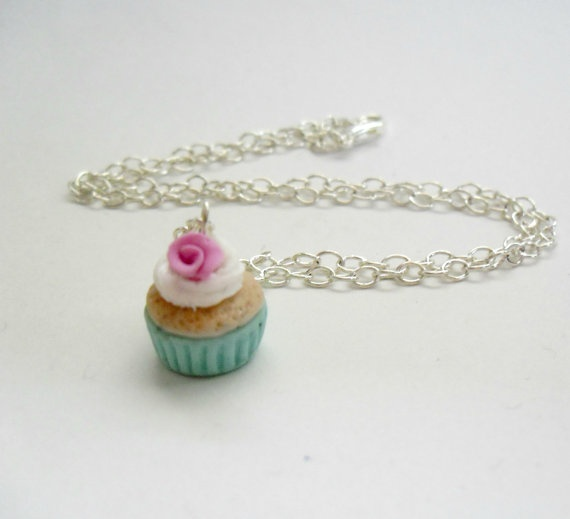 Sping cupcake pendant Polymer clay jewelry Mini by DivineDecadance, $17.00