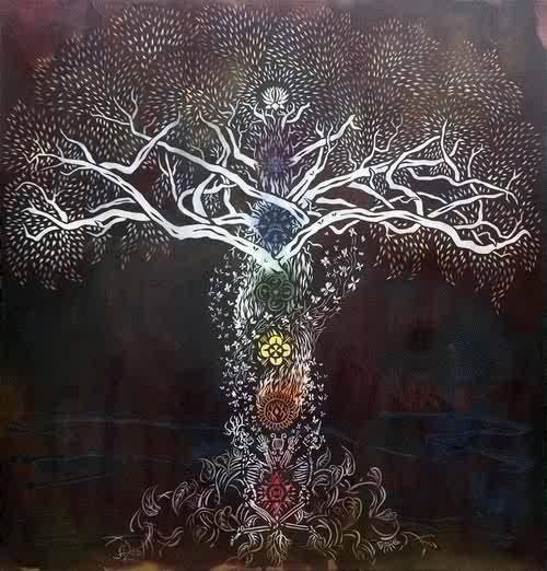 "Tree of Life by Silas Stoddard/ Chakra Tree- ""…keep attention in the inner energy field of the body as you look around the room. The inner body lies at the threshold between your form identity and your essence identity, your true nature. Never lose touch with it.""----- Eckhart Tolle in The Power of Now"